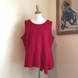 Worthington red sleeveless Peplum top
